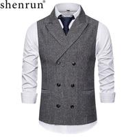 Shenrun Men Vests Autumn Light Gray Dark Grey Coffee Herringbone Waistcoat Spring Winter Fashion Double Breasted Peak Lapel Vest