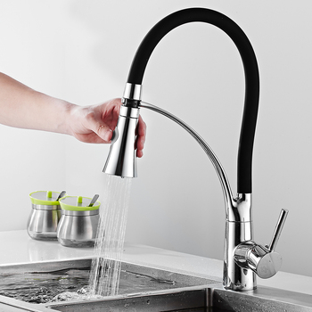 Matte Black Kitchen Faucet Deck Mounted Mixer Tap 360 Degree Rotation Water Purification Tap Cold And Hot Single Handle Mixer goose neck bathroom kitchen faucet 360 rotation single handle kitchen mixer taps with hot and cold water black deck mounted