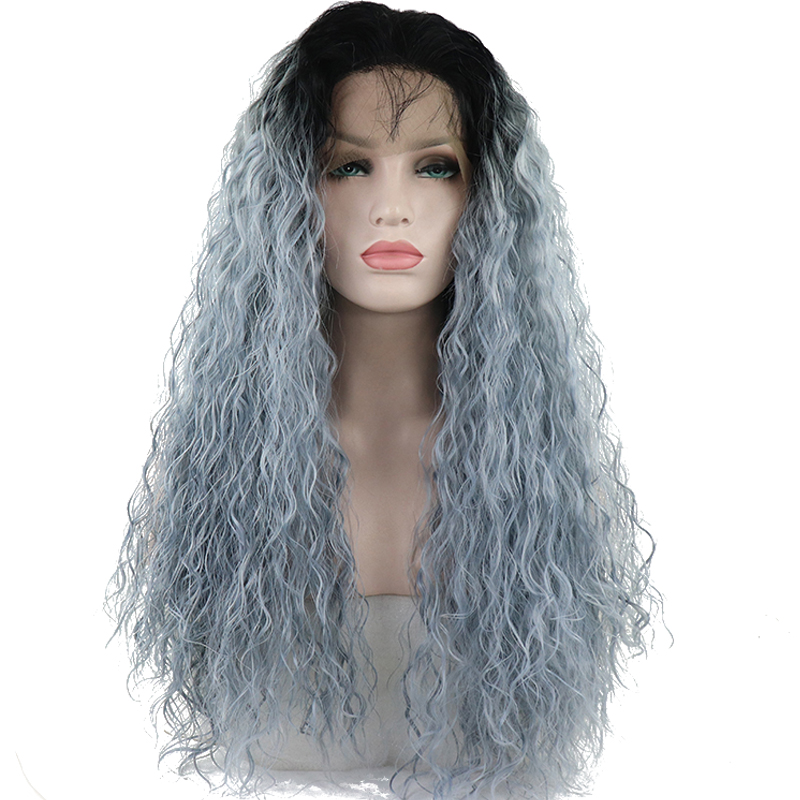Wigs Light-Blue Lace-Front Synthetic Ombre Heat-Resistant Long with Baby-Hair for Women