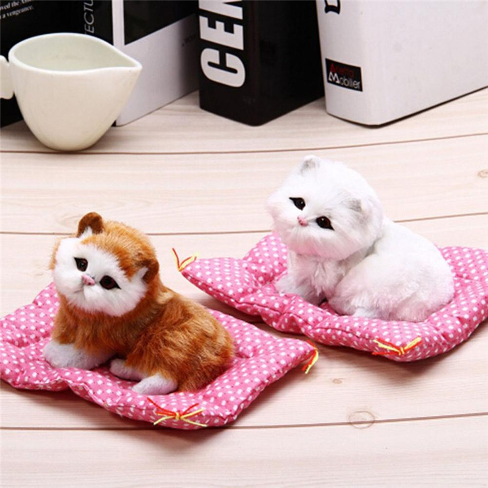 Soft Lovely Animal Doll Plush Sleeping Cats Pet +Seat Mat Toy With Sound Kids Toys Birthday Gift Home Decoration