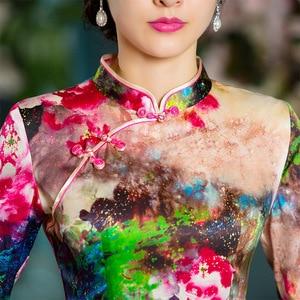 Image 3 - 2019 판매 하프 Vestido 드 Debutante 새로운 중국 스타일 레트로 여자 Cheongsam 스커트 실크 개선 중간 슬리브 슬림 도매