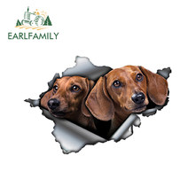EARLFAMILY 13cm x 8.6cm 3D Tan bassotto adesivo per auto adesivo in metallo strappato adesivi riflettenti impermeabile Car Styling Pet Dog Decals
