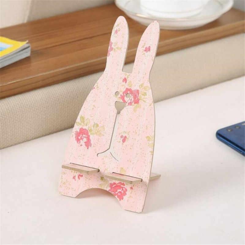 Soporte universal para teléfono móvil de madera con conejo bonito, soporte para teléfono móvil, soporte de escritorio para IPhone 7 8 Plus XS XR