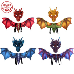 Image 1 - KOOY Adult Boy and Girl Kids Halloween Decoration Carnival Party Animal Costume Dragon Cosplay Masquerade Face Mask and Wing