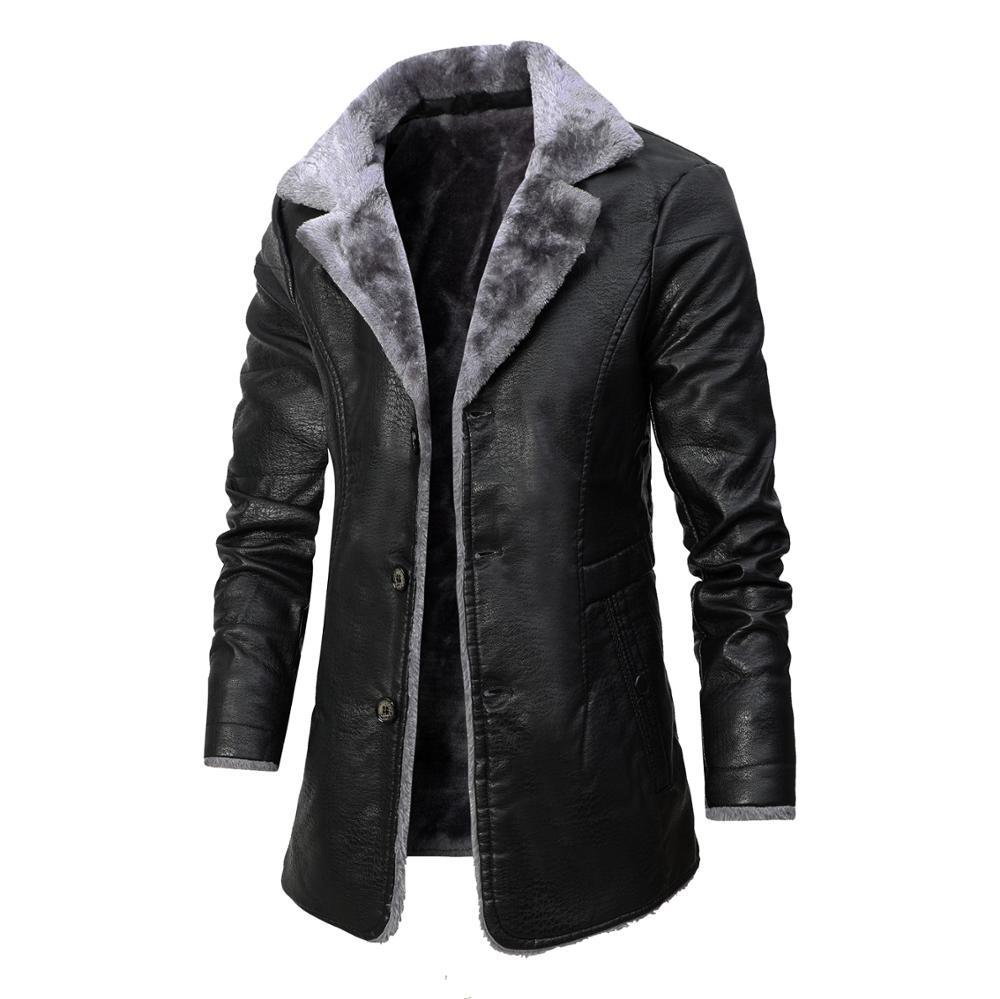 2020 Winter Men's Leather Jacket Solid Color Lining Velvet Business Lapel Medium Length Keep  Warm Black Leather Windbreaker