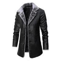 2020 Winter herren Leder Jacke Einfarbig Futter Samt Business Revers Medium Länge Halten Warme Schwarz Leder Windjacke