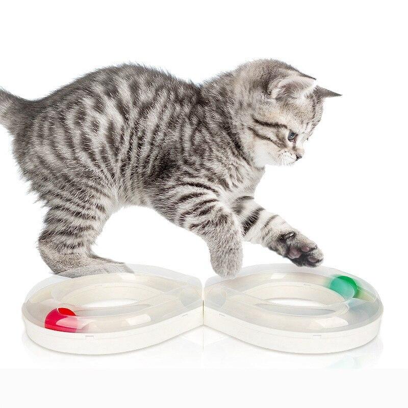 Pet Cat Toy Tower Tracks Disc Cat Intelligence Amusement Disc Cat Toys Catching Ball Training Amusement Plate Cat Supplies