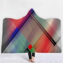 Геометрический текстильный принт шляпа одеяло с капюшоном для взрослых коралловый флис теплое надеваемое Покрывало шерстяное одеяло зимние одеяла 200x150 см