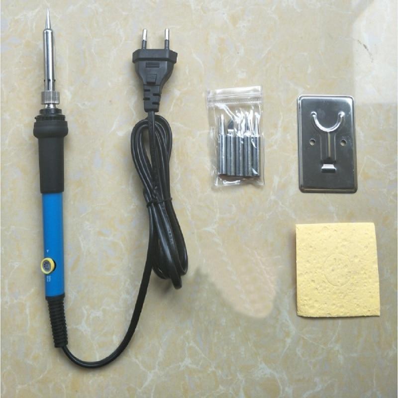 New Adjustable Temperature Electric Soldering Iron 220V 110V 60W Welding Solder Rework Station Heat Pencil 5pcs Tips Repair Tool
