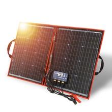 Dokio 100 w (50w x 2 pces) 12v flexível preto painéis solares china dobrável + 12v controlador 100 watts painéis solares para bateria de carro