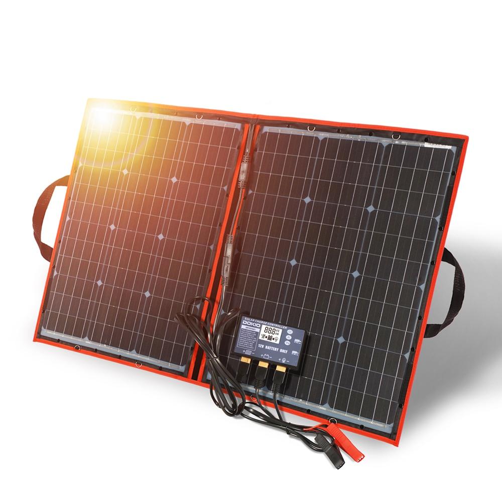 Dokio 100 W (50Wx2 uds) 12V paneles solares negros flexibles China plegable + 12V controlador 100 vatios paneles solares para la batería del coche 100% nuevo y original, garantía de 90 días SKM150GB128D