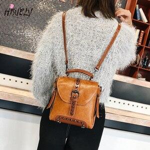 Image 3 - 2020 새로운 레트로 부드러운 여성 PU 가죽 가방 리벳 메신저 가방 Crossbody 패션 디자이너 숄더 가방 지갑과 핸드백 Q3