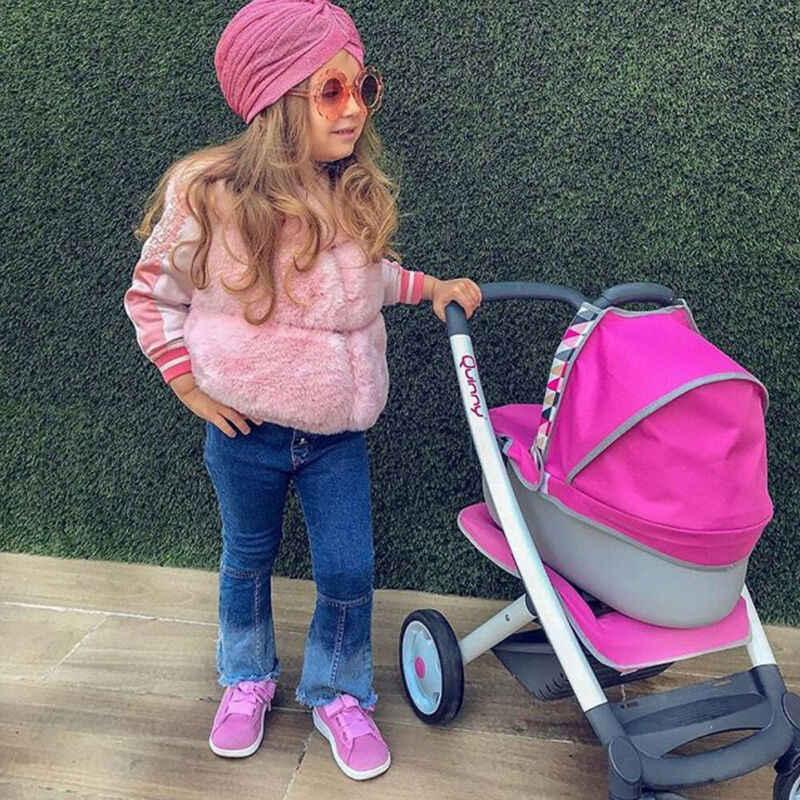 Moda yeni kızlar çocuklar pembe taklit kürk yelek yelek bebek kız sıcak kış ceket dış giyim ceket 0-3Y