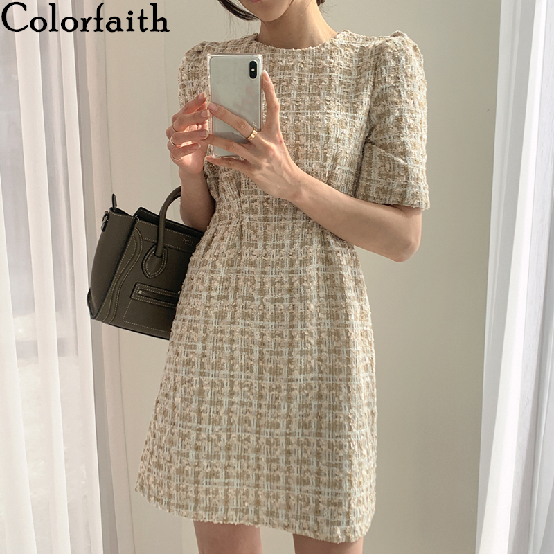 Colorfaith New 2020 Women's Summer Dresses Fashionable High Waist Casual Puff Sleeve Plaid Elegant Vintage Mini Dress DR2152