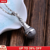 S925 sterling silver vintage Thai silver notes microphone pendant