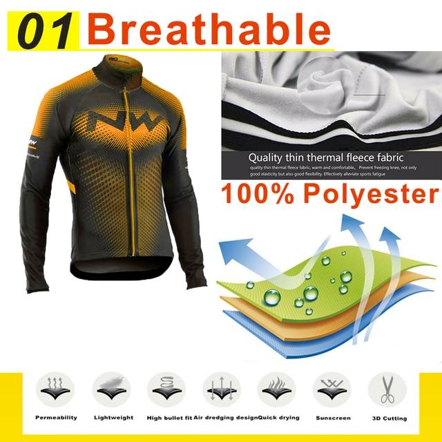 Strava equipe inverno velo térmico ciclismo roupas dos homens manga longa camisa terno equitação ao ar livre bicicleta mtb roupas bib calças conjunto 2