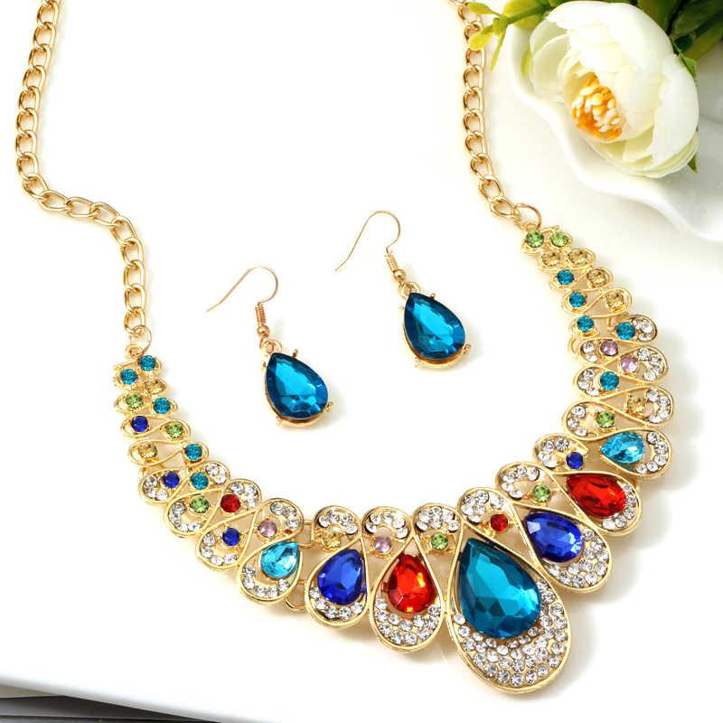 高級カラフルなラインストーンクリスタルゴールド色婚約チョーカーステートメントネックレスイヤリング宝石石の宝石セット