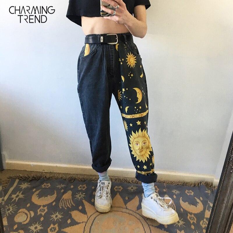 Fashion Moon Star Print Casual Pants Women 2020 Spring Summer Jeans Trousers Zip Pocket Girl Denim Fabric Mid-Waist Chic Pants