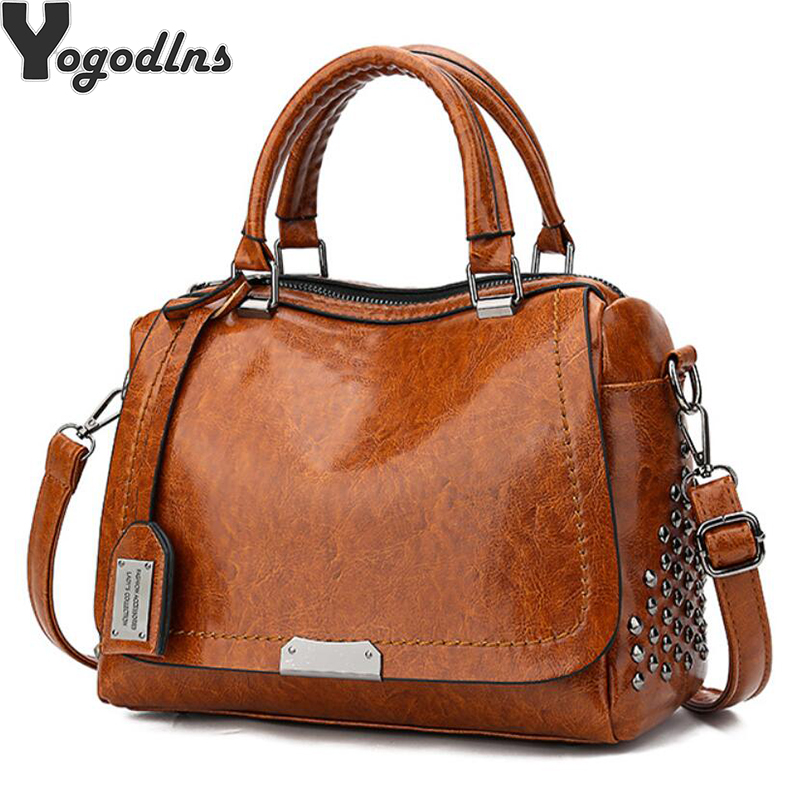 Vintage Boston Rivet PU Leather Luxury Handbags Women Messenger Bags Designer Shoulder Bag Female Tote Bolsos Mujer