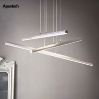 Nordic LED Ceiling Chandelier Linear Bar Ceiling Hanging Lamp Dining Room Kitchen Desk Droplight Restaurant Lighting Fixtures