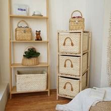 1/2pcs Corn Husk Weaving Storage Baskets Manual Storage Box Sundries Toys Clothing Organizer Box Woven Basket Drawer Organizer