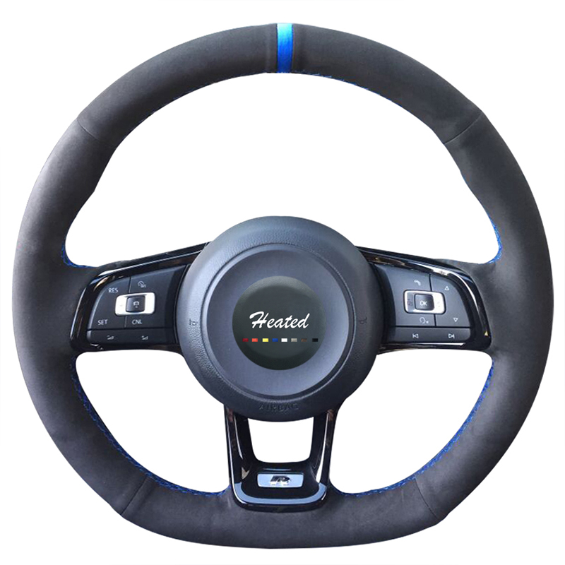 Braid on the Steering Wheel Cover for Volkswagen <font><b>VW</b></font> <font><b>Golf</b></font> <font><b>7</b></font> <font><b>GTI</b></font> <font><b>Golf</b></font> R MK7 <font><b>VW</b></font> Polo <font><b>GTI</b></font> Scirocco 2015 2016 capa para volante image