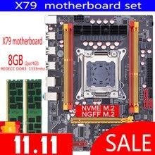 Qiyida X79 האם סט עם Xeon LGA2011 2PCS x 4GB = 8GB 1333MHz DDR3 ECC REG זיכרון MATX NVME LGA 2011 האם X79 6M