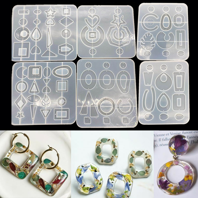 Big Charm Resin Jewelry Molds Silicone Mold Summer Holiday Earring Round Square Rectangle Triangle Star Heart Pendant Mold