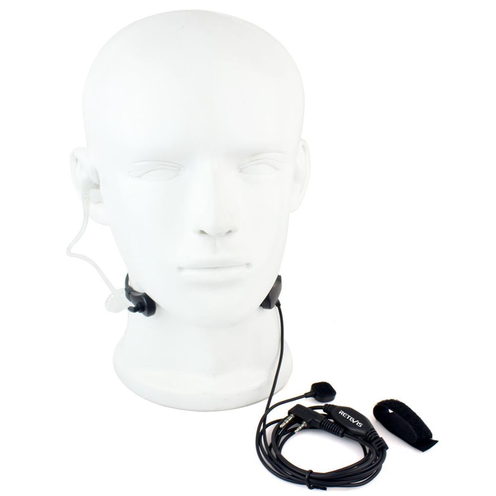 Throat MIC Covert Acoustic Tube Earpiece PTT for Kenwood Radio RETEVIS QUANSHENG WOUXUN TYT BAOFENG UV5R 888S Black New