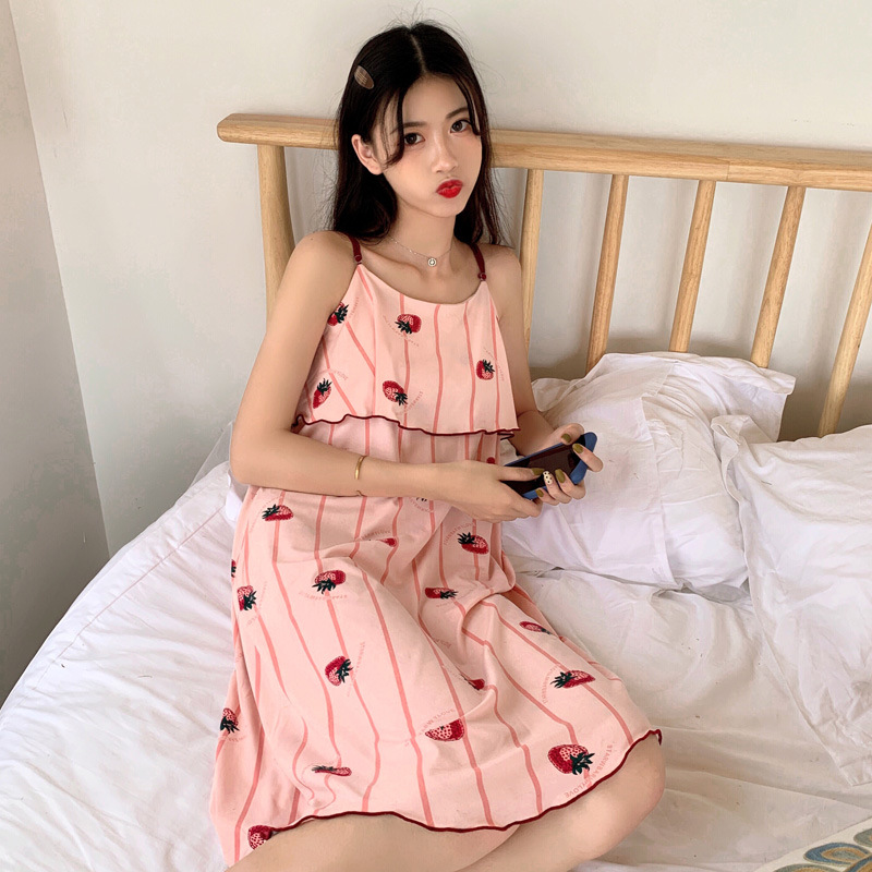 Nightgown Women's Summer Camisole Pure Cotton Korean-style Fresh Cute Sleeveless GIRL'S Loose Cotton Sexy Pajamas Tracksuit