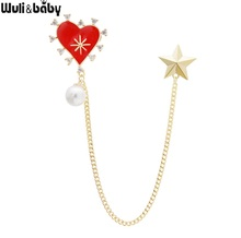 Wuli&baby Red Heart Gold Star Tassel Brooches Women Men Suits Shirt Collar Pins Jewelry Gifts
