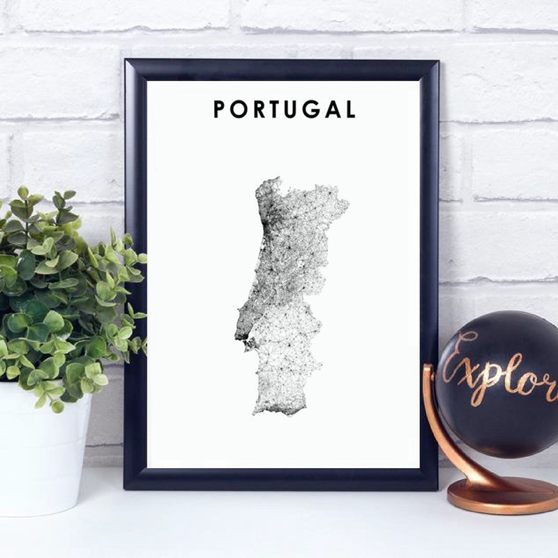 Wall Art Canvas Painting Portugal Map Poster Black Wall White Picture Prints Office Decor Portuguesa Map Modern Home Art Decor