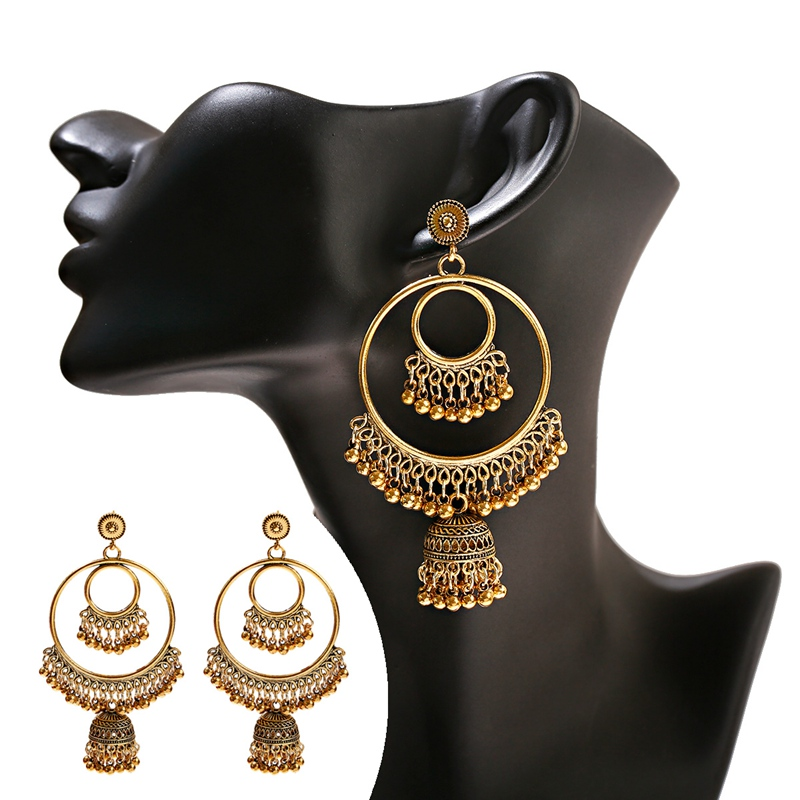 Hd130ade8c34f483c8ad7527d8f069a61I - Antique Gold Boho Big Round Circle Gypsy Tribal Indian Drop Earrings For Women Vintage Bell Tassel Earring Womens Jewellery
