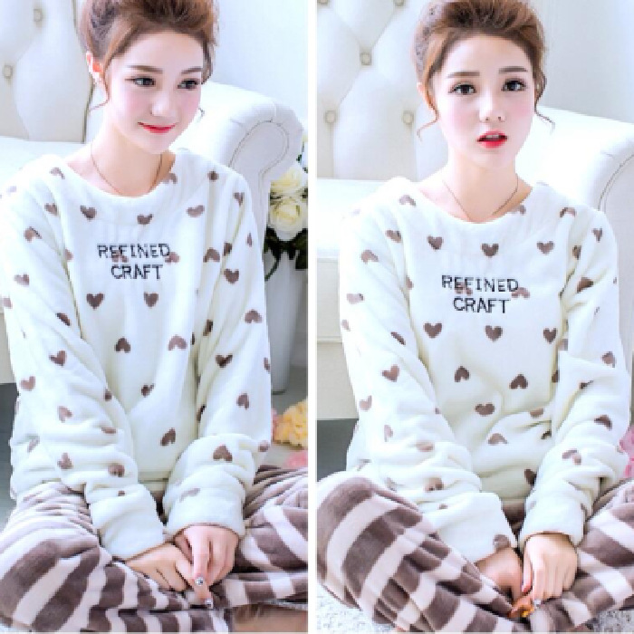 Pajamas Women's Coral Velvet Autumn And Winter Japanese Korean Hoodie Cute Sweet Thick Flannel Casual Homewear Set