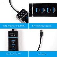 נייד מחברת HUB USB וגם הסלסילה העמוסה 3.0 USB חיצוניים 4 Power Port עבור מפצל USB 4 יציאות מחברת מחשב נייד Windows Mac Linux עם LED HUB-USB (3)