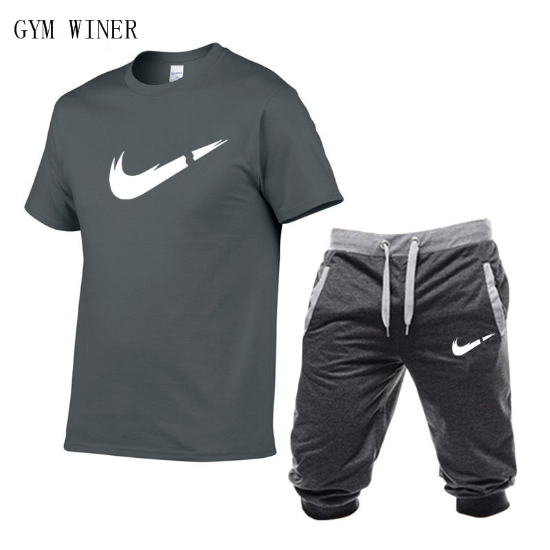 Image 5 - Summer New Tracksuit Men Shorts Casual Men's Sportswear Suit Shorts Brand Clothing Two Pieces Top Tee+Shorts Sweat Suits 2019-in Men's Sets from Men's Clothing