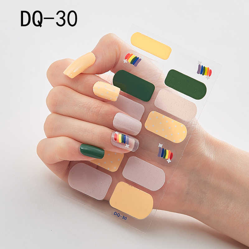 Lamemoria 1Pcs Nail Art Wraps DQ28 Glitter Tips Self-กาวเล็บDecals Makepความงามตกแต่งเล็บTattooเล็บ