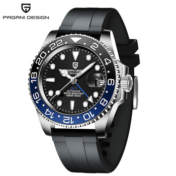 2020 New PAGANI DESIGN Luxury Men GMT Automatic Machinery Watch 40MM Ceramic bezel Jubilee Strap Sapphire 100M Waterproof Clock - Black blue 1