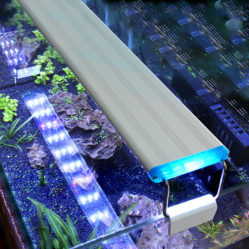 Aquarium LED Light Super Slim Fish Tank Aquatic Plant Grow Lighting Waterproof Bright Clip Lamp Blue LED 18-75cm For Fish Tank