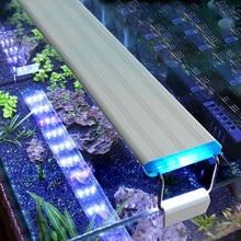 Aquarium Led Licht Super Slim Fish Tank Aquatic Plant Groeien Verlichting Waterdichte Bright Clip Lamp Blauwe Led 18-75cm Voor Planten 220V