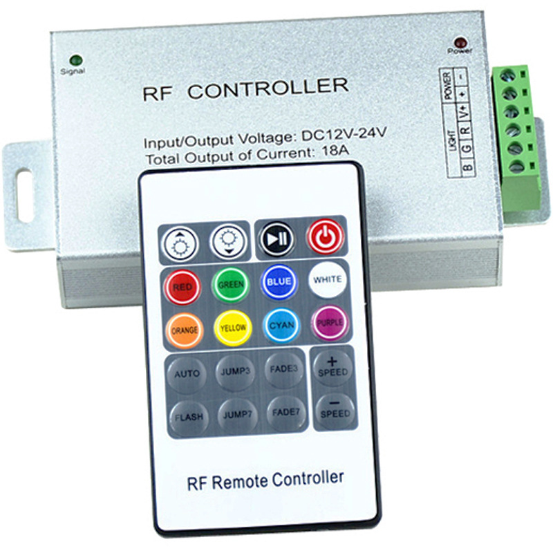 LED Lamp Controller RF Wireless RF 20-Key Remote Control Aluminum Case RGB Colorful Light Belt Lamp Dimming Controller