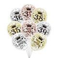 6 шт./лот, воздушные шары на день рождения, 35, 36, 37, 38, 39, розовое золото, серебро, 35, 36, 39, вечерние украшения, конфетти, шар на годовщину