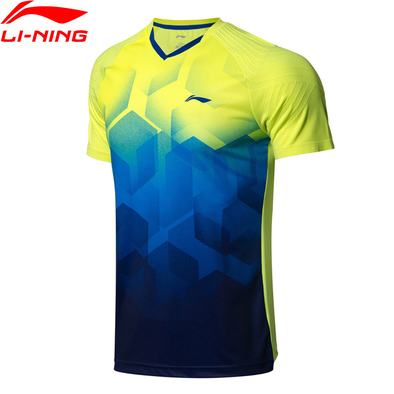 Li-Ning Men Badminton T-Shirts AT DRY Breathable Competition Comfort Fitness LiNing Li Ning Sports Tees T-Shirt AAYN269 MTS2836