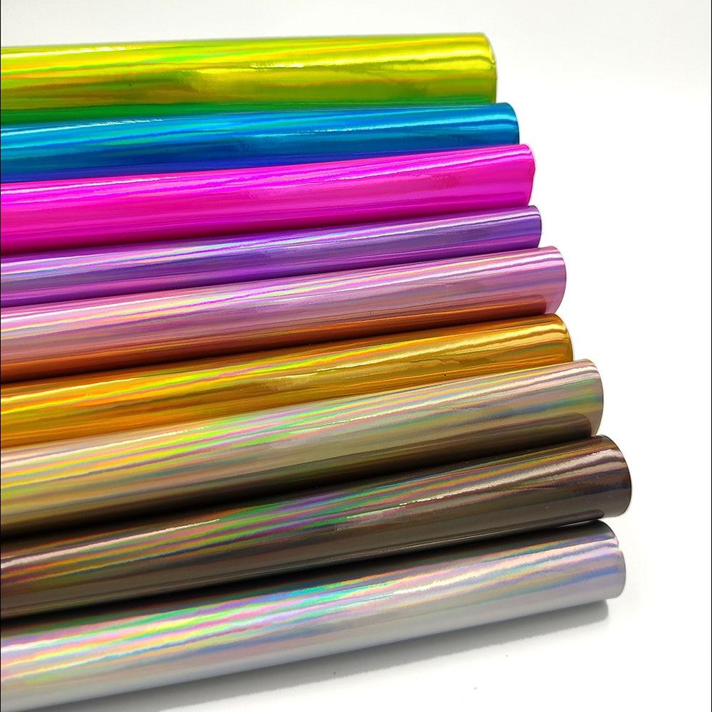 Радужные зеркальные листы A4 из искусственной кожи, ткань для шитья сумок, платьев, ремесленных изделий, материал для бантов и сережек «сдела...