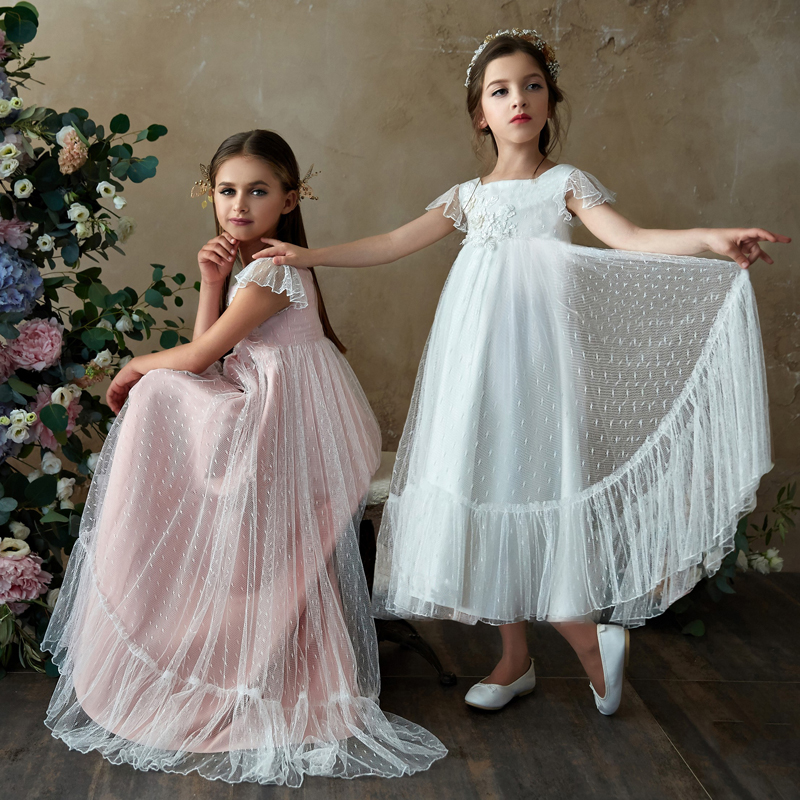 Flower Girl Dresses Lace 3D Flower Appliques Cap Sleeves Girls A-line Gowns Birthday Party Toddler 2-11Y