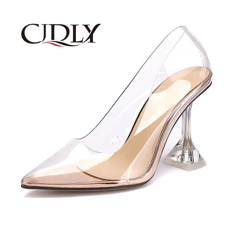 ELVIRAS Women Pumps PVC Fashion Transparent Shoes Women Pumps Women's Sandals High Heels Shoes Square Heel Leisure Shoes Ladies