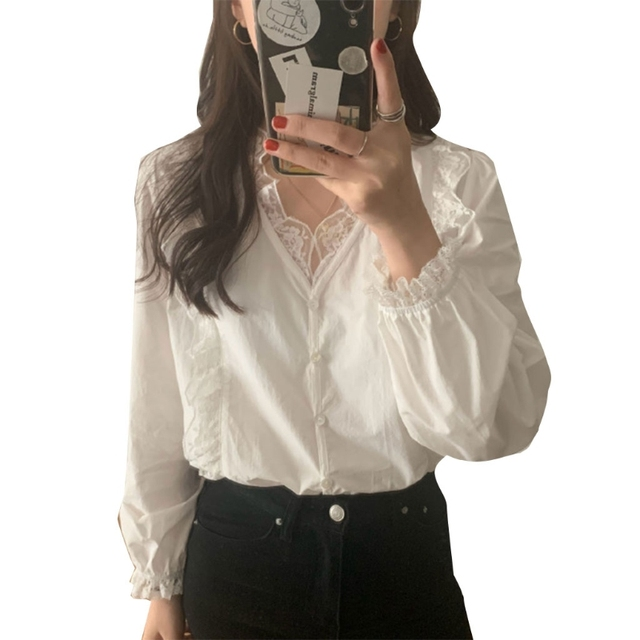 Korean Style Women Spring White Blouse Puff Long Sleeve Sexy V-Neck Shirt Button Down Ruffles Floral Lace Splicing Trim Office 1