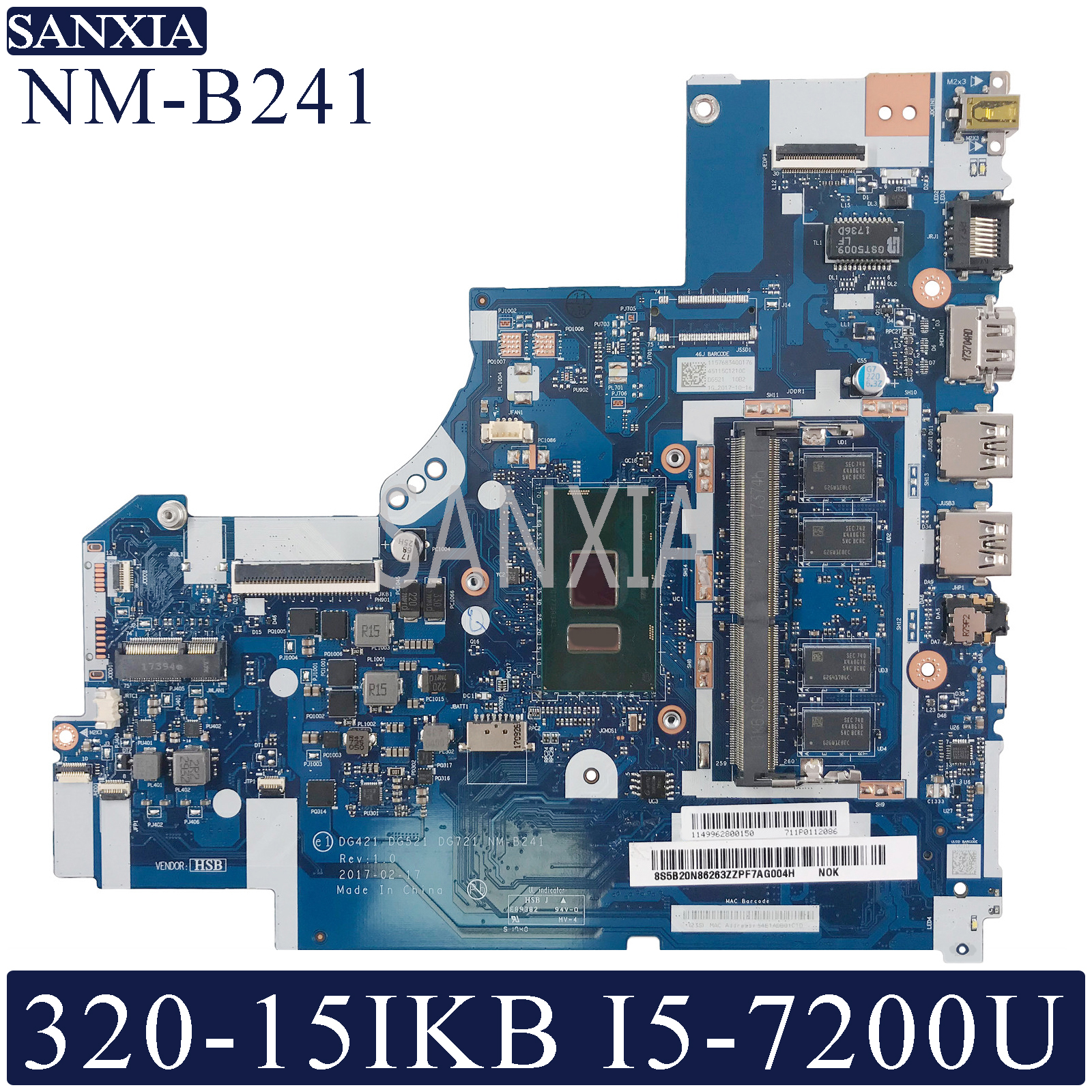 KEFU NM-B241 Laptop <font><b>motherboard</b></font> for <font><b>Lenovo</b></font> <font><b>Ideapad</b></font> <font><b>320</b></font>-15IKB original mainboard 4GB-RAM I5-7200U image