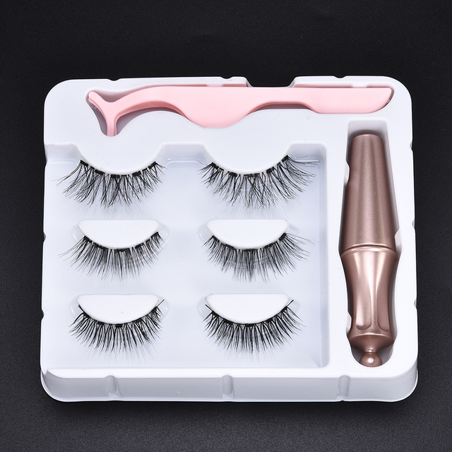 3D Mink Hair False Eyelashes 3 Pairs Magnetic Eyelashes With 1 Pc Magnetic Eyeliner and Tweezer Set Makeup Beauty Extension Tool 3