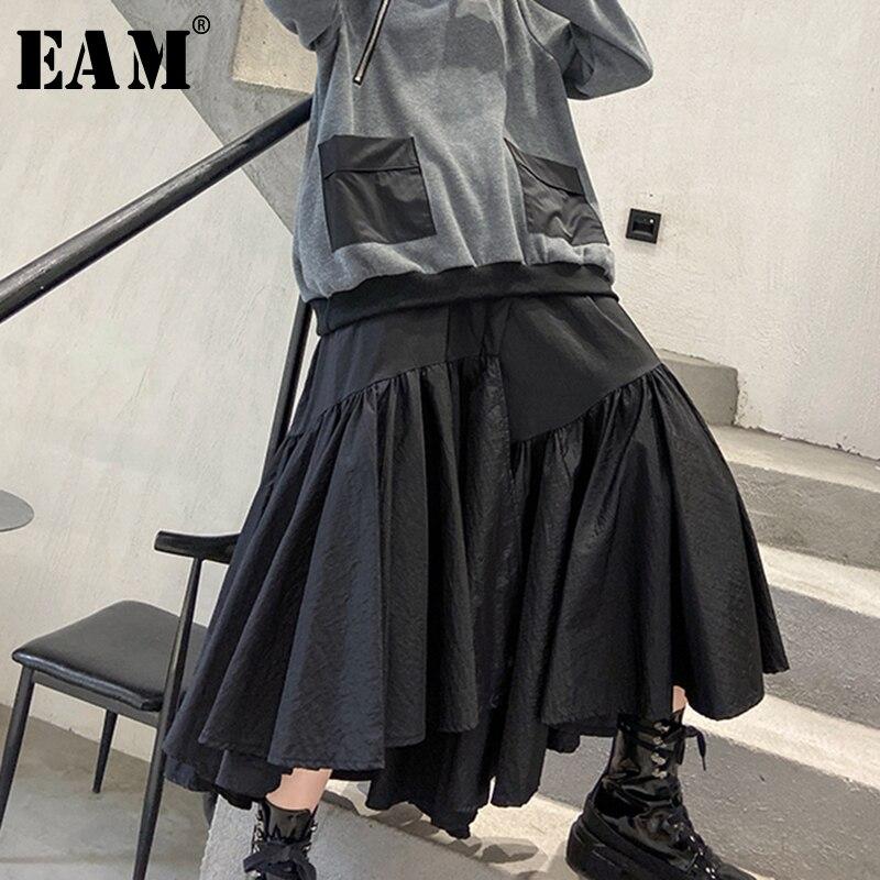 [EAM] High Elastic Waist Black Asymmetrical Pleated Temperament Half-body Skirt Women Fashion Tide New Spring Autumn 2020 1N732